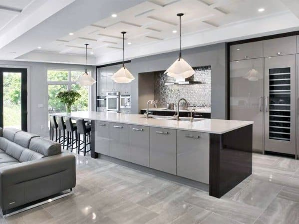 Modern Kitchen Ceiling Ideas Pattern Coffered