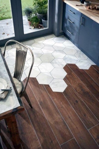 Modern Kitchen Flooring Ideas Hexagon Tile With Hardwood