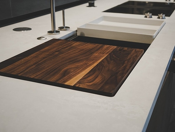 Modern Kitchen Sink With Wood Cutting Board Detail 2019 New American Remodel.