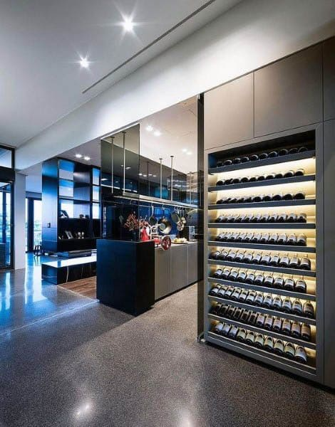 Modern Kitchen With Wine Storage Wall Design Ideas