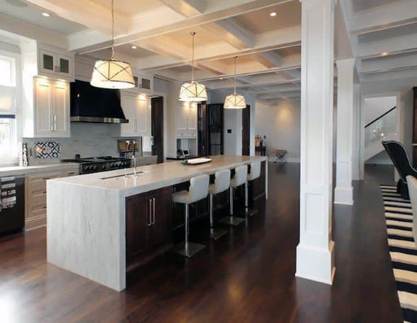 Modern Kitchesn Hardwood Floor With White Marble Countertops