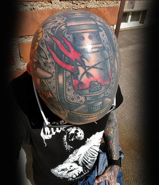 Modern Lantern Guys Head Tattoo