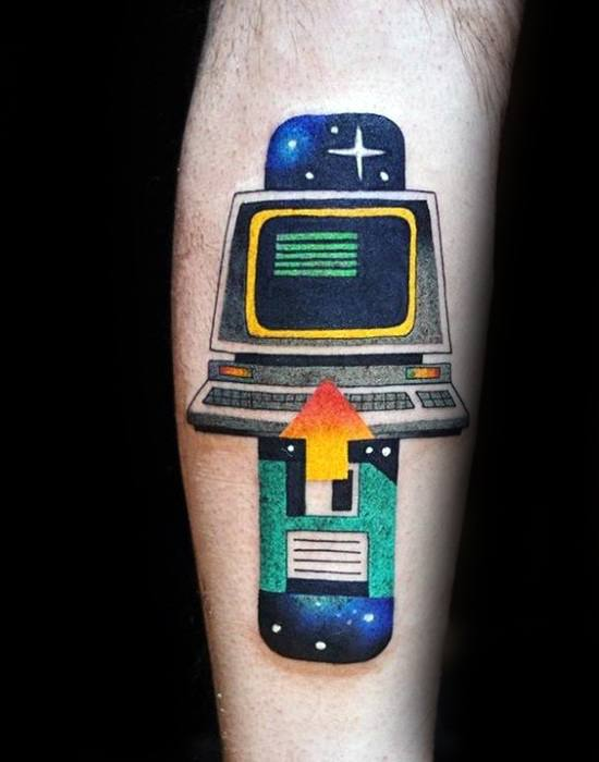 Modern Leg Computer Male Tattoo Designs