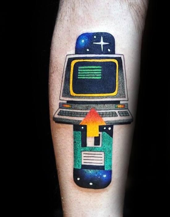 Modern Leg Computer Male Tattoo Designs