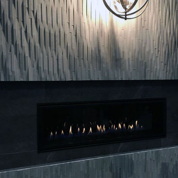 Modern Linear Fireplace Ideas Grey Tile Stone