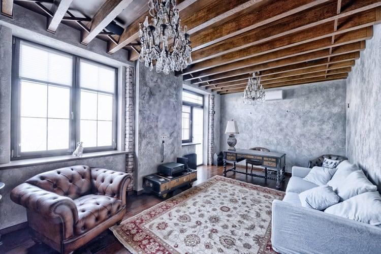 Modern Living Room Beam Ceiling