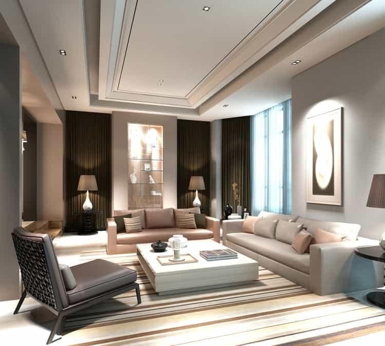 Modern Living Room Floating Ceiling