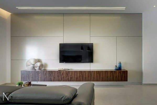 Modern Living Room Free Floating Wood Stand Interior Designs Television Walls