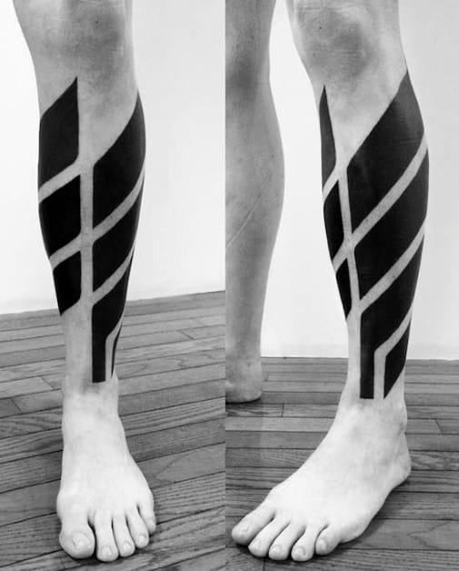 Modern Lower Leg Calf Mens Blackwork Lines Tattoos