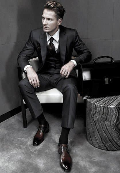 Modern Male Black Suit Styles With Dark Brown Dress Shoes