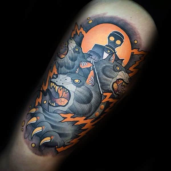 Modern Male Cerberus Thigh Tattoo Designs