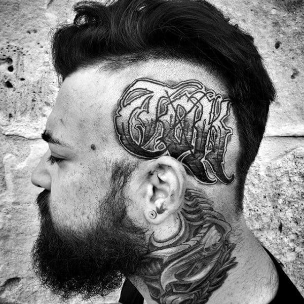 Modern Male Head Lettering Tattoo Design Ideas