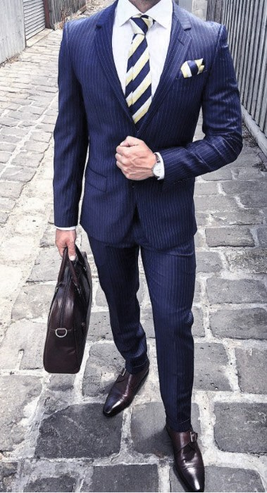 Modern Male Navy Blue Suit Brown Shoes Styles
