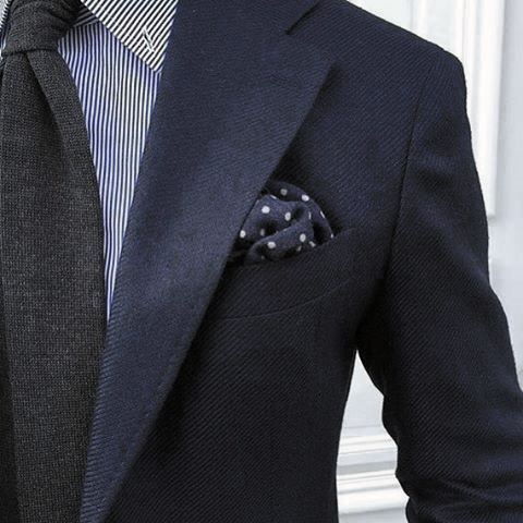 Modern Male Navy Blue Suit Styles With Charcoal Grey Tie And Dot Pocket Square