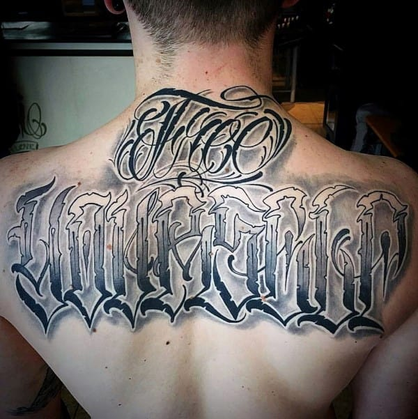 Modern Male Script Upper Back Tattoos With Shaded Lettering Design