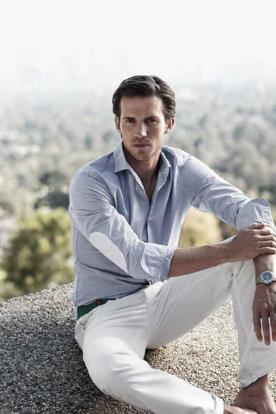 Modern Male Summer Outfits Styles Light Blue Dress Shirt With White Pants