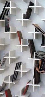 Modern Man Cave Decor Wall With Plus Sign Book Shelves