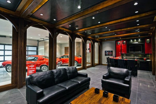Garage modern  50 Man Cave Garage Ideas - Modern To Industrial Designs