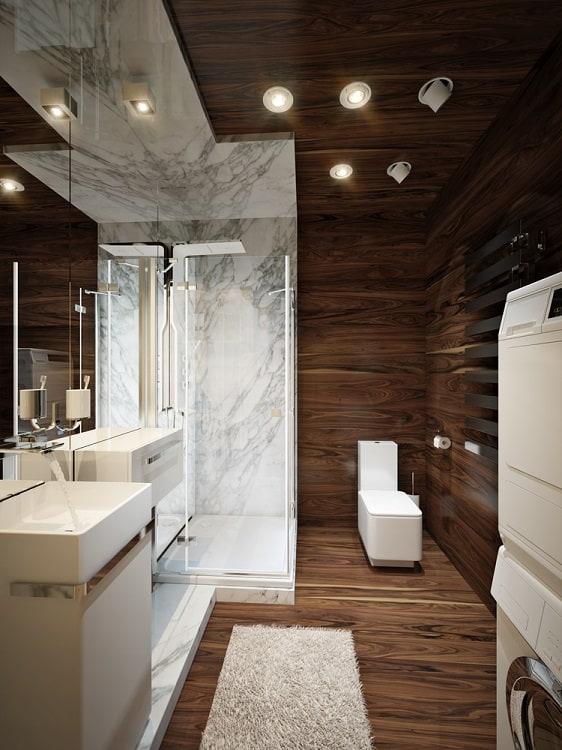 Modern Marble Dark Wood Ceiling