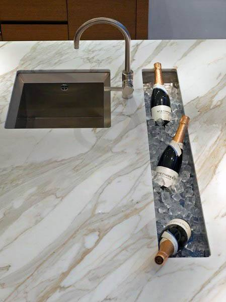 Modern Marble Kitchen Cabinets With Unique Design Built In Countertops