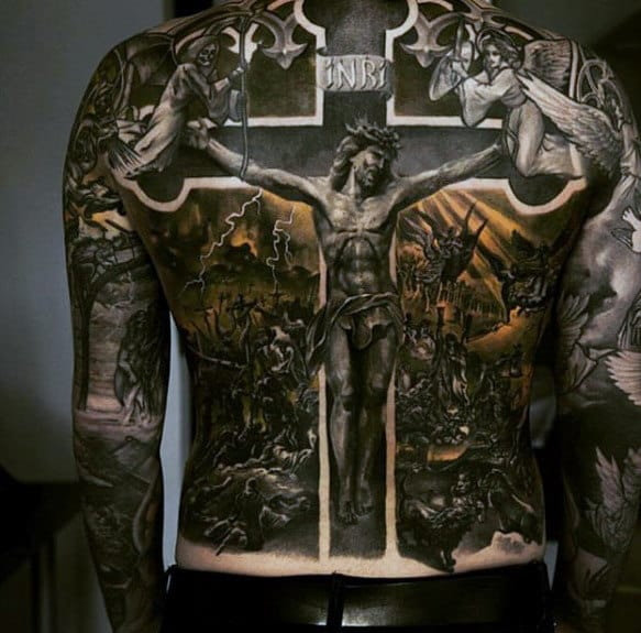 Modern Mens Amazing Jesus Full Back Tattoo Designs