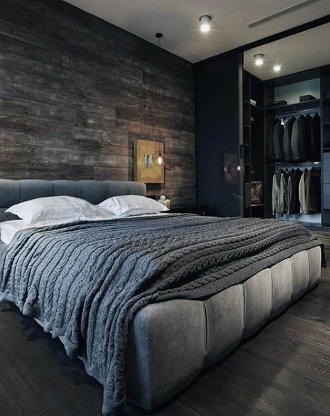 80 bachelor pad men 39 s bedroom ideas manly interior design for Dark grey bedroom wallpaper