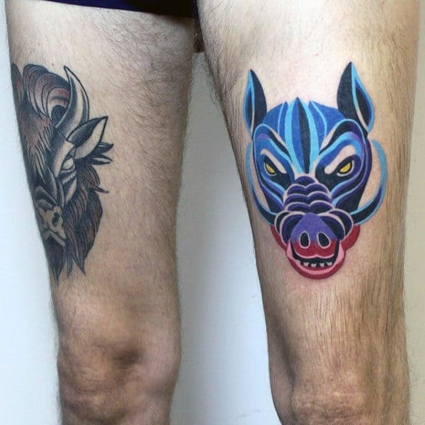 Modern Mens Boar Thigh Tattoo With Artistic Design