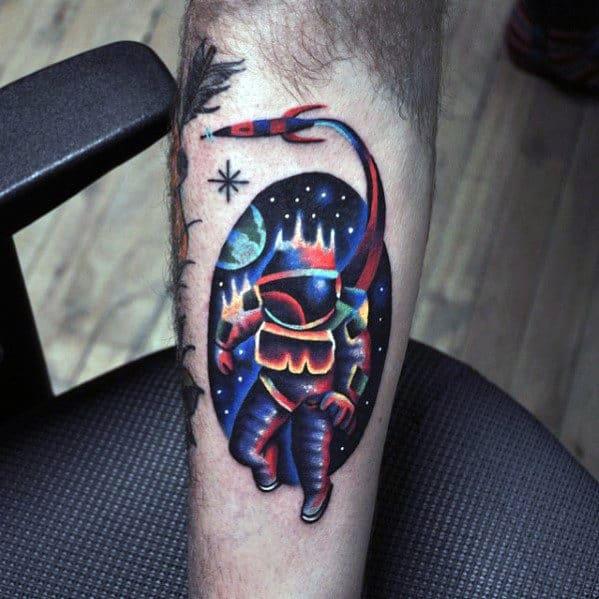 Modern Mens Creative Spaceship With Astronaut Inner Forearm Tattoo