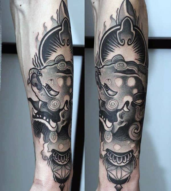 Modern Mens Foo Dog Forearm Tattoo Ideas