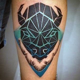 Modern Mens Geometric Abstract Blue And Black Ink Bison Buffalo Thigh Tattoos