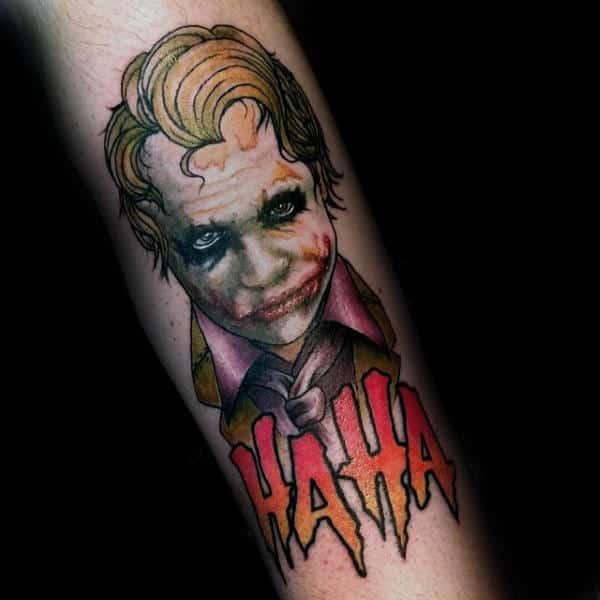 Modern Mens Joker Forearm Tattoos