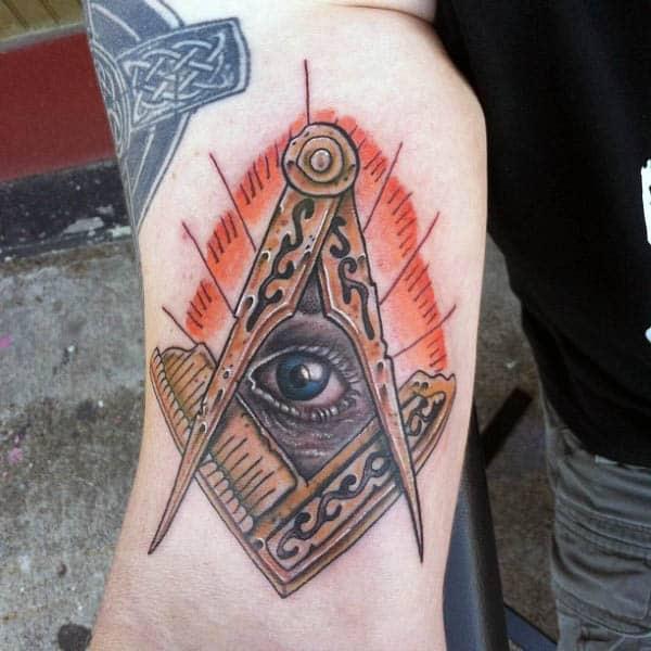 Modern Mens Masonic Eye Bicep Tattoo
