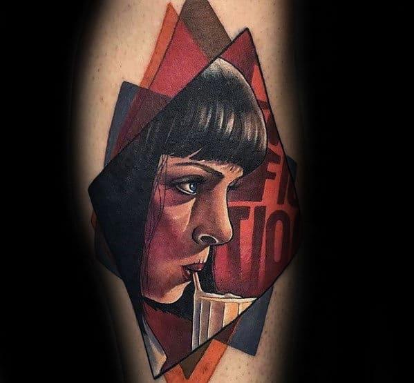 Modern Mens Mia Wallace Pulp Fiction Leg Tattoo