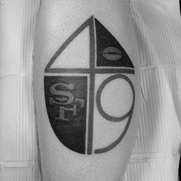 Modern Mens Minimalistic San Francisco 49ers Leg Calf Tattoo