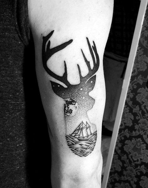 Modern Mens Outer Arm Deer Tattoo With Ship And Stars