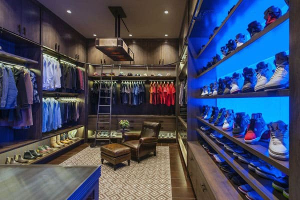 Modern Mens Spacious Closet Design With Neon Blue Light Shoe Wall Shelf