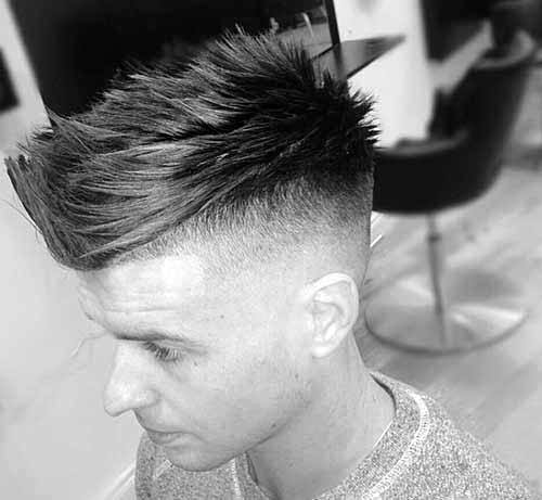 Modern Mens Spiky Fohawk Fade Haircut