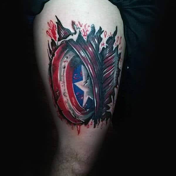 Modern Mens Thigh Tatoto Of Captain America Shield