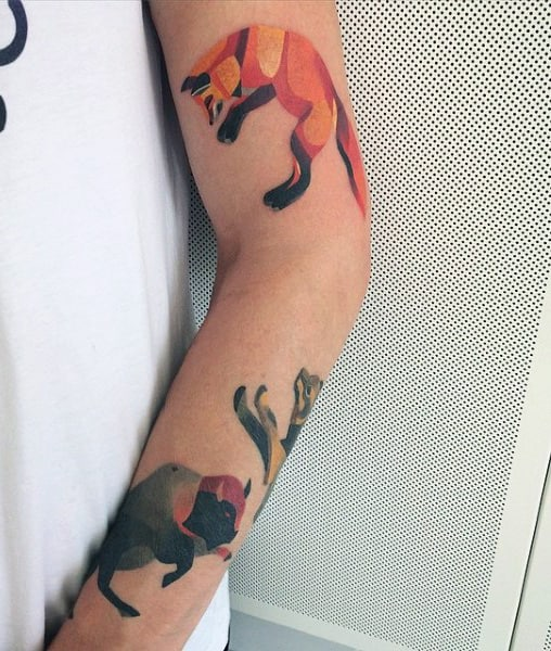 Modern Mens Watercolor Bison Tattoo On Forearm