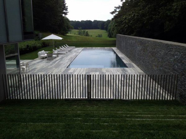 Modern Metal Bars Pool Fence Ideas