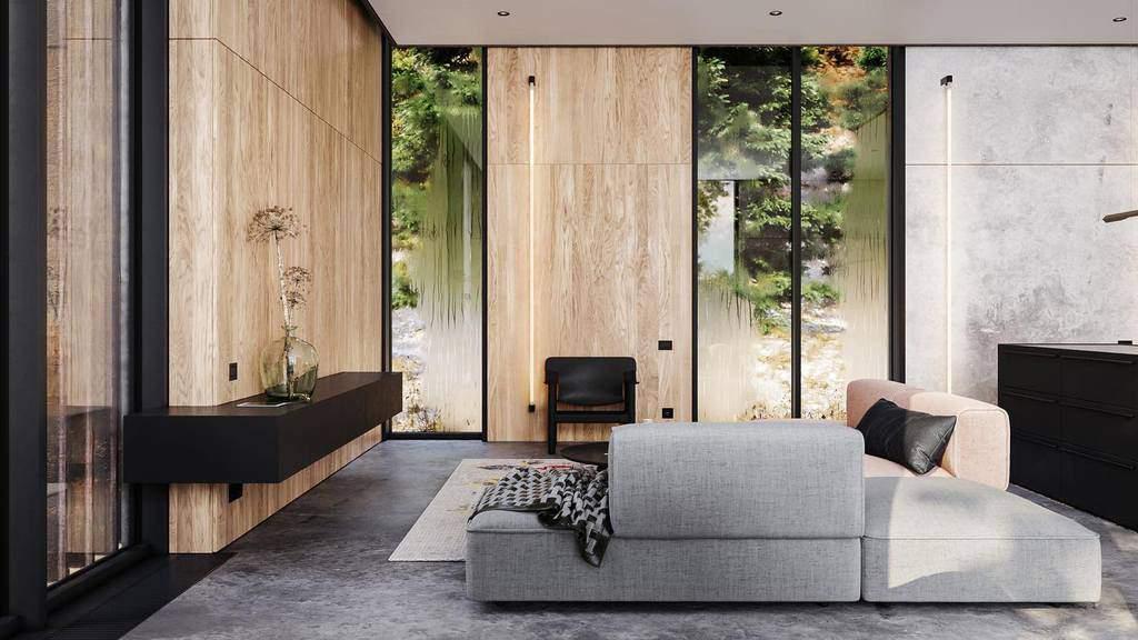 Modern Minimalist Living Room Obriy.architects