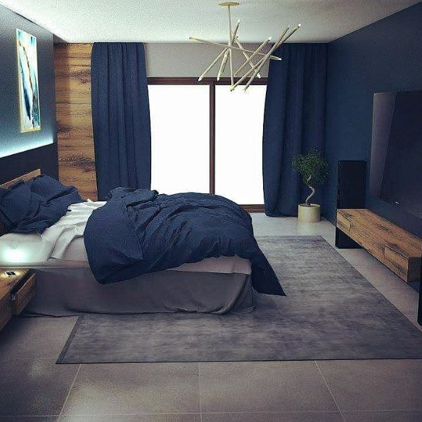 Modern Navy Blue Bedroom