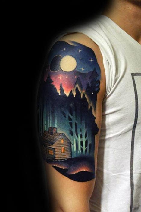 Modern Neon Cabin With Night Sky Guys Arm Tattoo