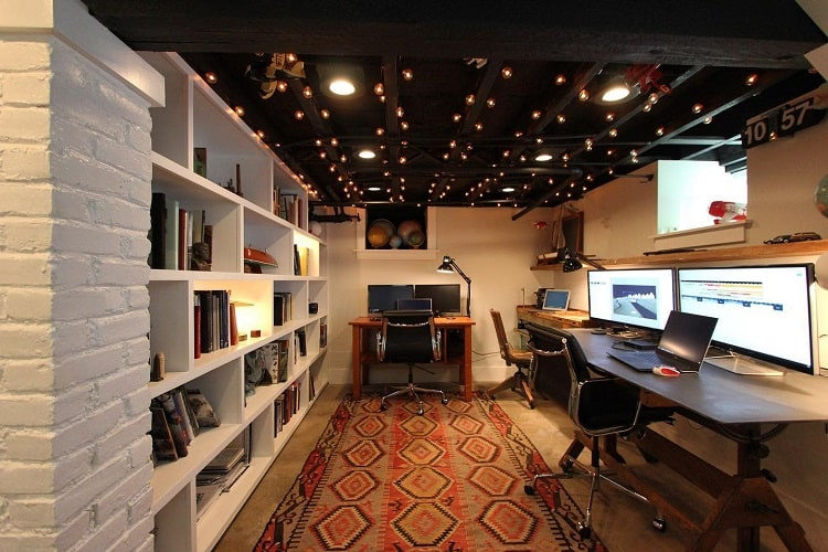 Modern Office Unfinished Basement Ideas