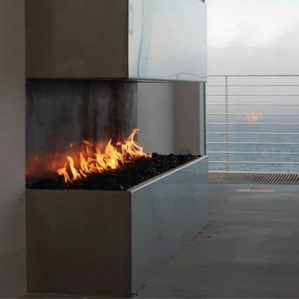 Modern Open Corner Fireplace Design Ideas