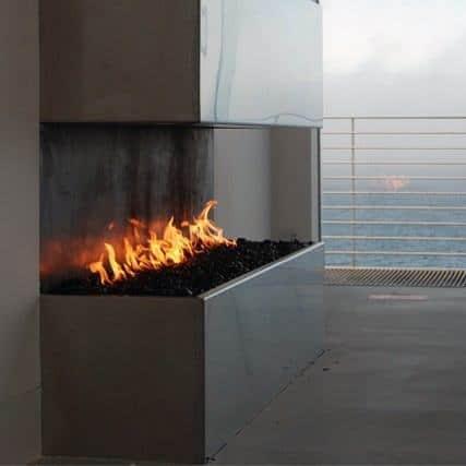 Modern Open Corner Gas Fireplace Design Ideas