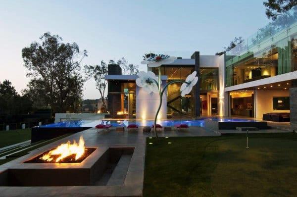 Modern Outdoor Dark Cement Fireplace Design Ideas