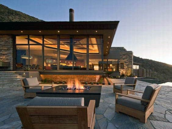 70 outdoor fireplace designs for men cool fire pit ideas for Outdoor modern fire pit
