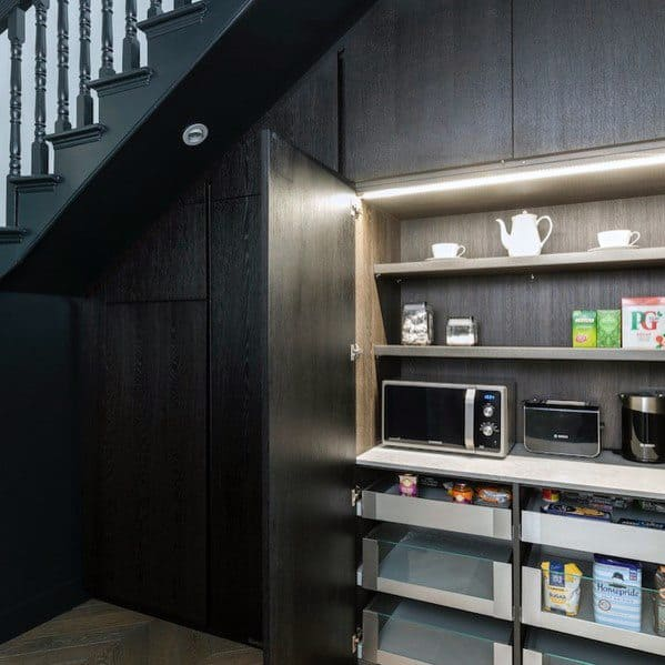 Modern Pantry For Small Appliances Interior Under Stairs Design