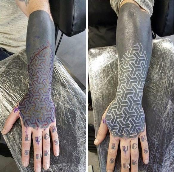 Modern Pattern White Ink Blackwork Mens Lower Forearm Sleeve